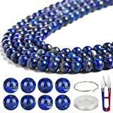 100 PCS Gemstone Round Loose Beads with Free Elastic String & Scissor, Natural 8mm Healing Lapis Lazuli with Stretch Cord for Jewelry Making