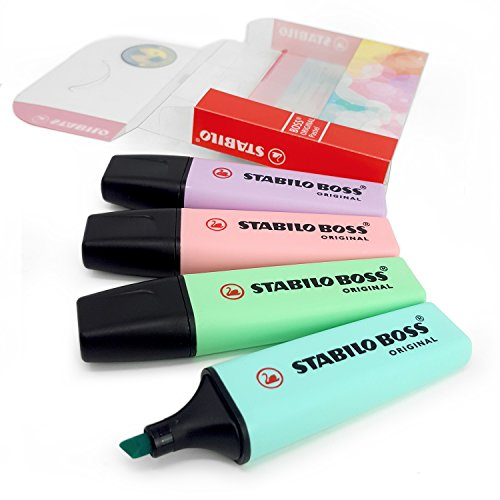 Stabilo Boss Original, lot de quatre marqueurs, surligneurs de couleur pastel