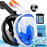 180° Full Face Snorkel Mask - Panoramic Seaview Diving Mask and Snorkel with Mount Anti-Fog Anti Leak Swim Mask for Adults