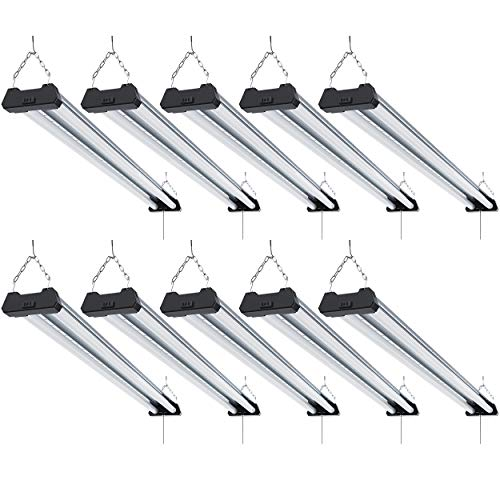 Sunco Lighting 10 Pack Industrial LED Shop Light, 4 FT, Linkable Integrated Fixture, 40W=260W, 5000K Daylight, 4000 LM, Surface + Suspension Mount, Pull Chain, Utility Light, Garage- Energy Star