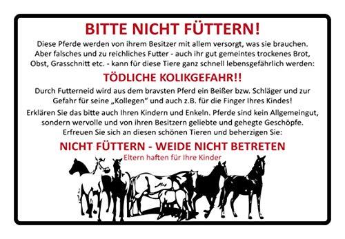 Metalen bord 30 x 20 cm Gelieve niet te voeden! Paard wilgenbordje wit Tin Sign