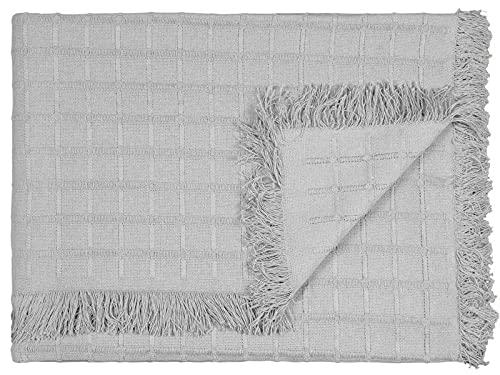 Colcha Multiusos Sofá, Cubrecama, Manta Foulard, Plaid para Cama, Cubresofa, Cómoda Practica y Suave. (180x260 cm, Gris)