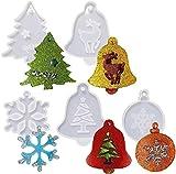 Moldes de resina con copos de nieve, moldes de resina de silicona, moldes de resina de Navidad, árbol de Navidad, lobo de alce y amor, molde de resina para fundición de epoxi, manualidades