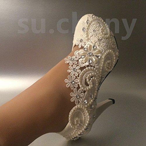 JINGXINSTORE 10cm/4Tacco Avorio Chiaro Perla Pizzo Pompe per Scarpe da Matrimonio Sposa Taglia 5–12, White, 7 US