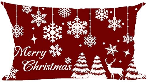 Mesllings - Funda de cojín con texto en inglés 'Happy New Year', color rojo vino, con texto inspirador, para decoración lumbar, para el hogar, sala de estar, cama, sofá, coche, de lino y algodón, rectangular, 30,5 x 50,8 cm