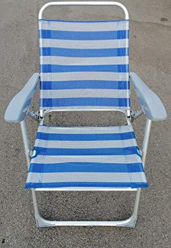 CL BEACH Sedia da Spiaggia Portatile con Schienale Alto e Reclinabile in 3 Posizioni, Spiaggina Pieghevole con Braccioli, Strisce Blu Bianche