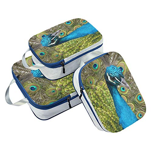 DEZIRO The Peacock Spreads Its Tail Packing Cubes 3-Pcs Travel Organizer Accessories