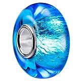 MATERIA Murano Glas Beads Perle blau aqua - 925 Silber Glasperle mit Glitzer-Folie für Armband #1429