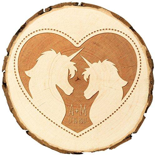 Schors ronde houten plaat decoratie met individuele gravure diameter 105-120 mm