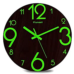 Plumeet Luminous Wall Clocks - 12'' Non-Ticking Silent Wooden Clock with Night Light - Large Decorative Wall Clock for Kitchen Office Bedroom,Battery Operated (Flat Number)