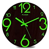 Plumeet Luminous Wall Clocks - 12'' Non-Ticking Silent Wooden Clock with Night Light - Large Decorative Wall Clock for Kitchen Office Bedroom,Battery Operated (3D Number) (Country Rustic)