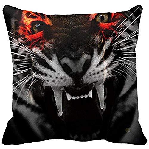 Ducan Lincoln Pillow Case Bling Bling Scary Tiger Open Mouth Design Kissenbezug Sofa Und Autokissen
