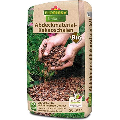 Florissa Natürlich Bio Abdeckmaterial-Kakaoschalen (50 l) | vegan | Schützt vor Austrocknung, Unkraut und Schnecken, Braun