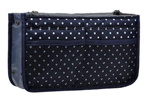Vercord Purse Organizer Insert for Handbags Bag Organizers Inside Tote Pocketbook Women Nurse Nylon 13 Pockets Navy Blue Dot Small