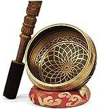 TARORO Cuenco Tibetano sin caja; Ø13cm; hecho a mano en Nepal ~ Diseño antiguo original ~ Vendido con un cojín de seda roja y un mazo con Dorje tallado a mano ~ Regalo espiritual