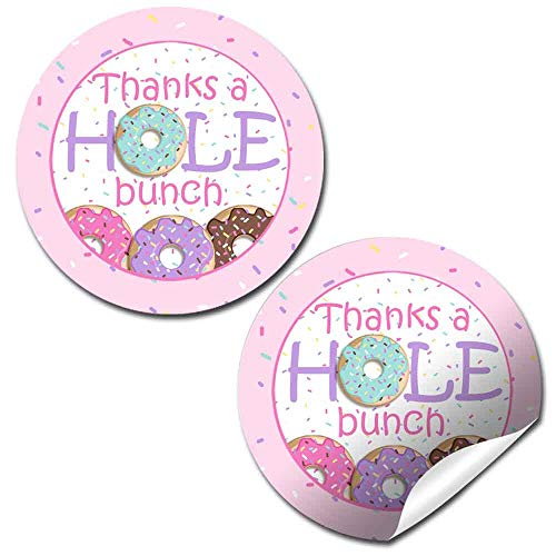 Donut Grow Up Themed Birthday Thank You Sticker Labels for Girls, 40 2' Party Circle Stickers by AmandaCreation, Great for Party Favors, Envelope Seals & Goodie Bags