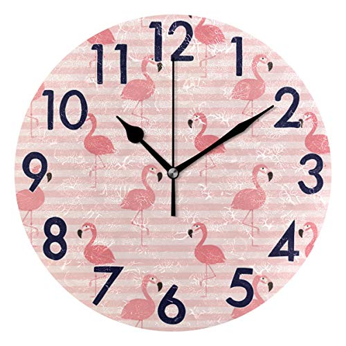 Chic Houses Reloj de pared redondo con diseño de flamencos y números arábigos, diseño de rayas, fondo silencioso, reloj de escritorio para baño, hogar, oficina, escuela, decoración 2031567