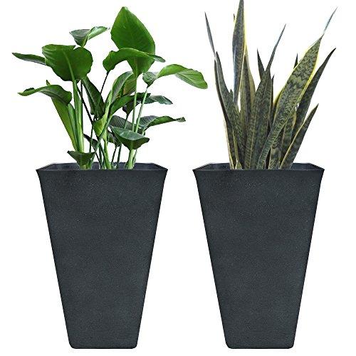 Tall Planters 26 Inch, Flower Pot Pack 2, Patio Deck Indoor Outdoor Garden Tree Planters, Black