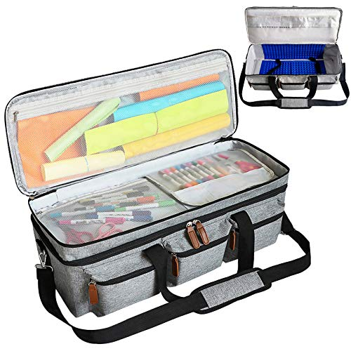Cutting Machine Carrying Bag Portable 3-Layer Shock Absorbent Cutting Machine Tote Bag Compatible with Cricut Explore Air 2 & Cricut Maker (Grey)