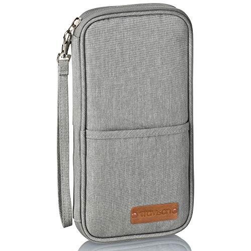 TRAVISON Reisepass-Tasche, RFID Schutz, für 4 Reisepässe, wichtige A4-Dokumente, Kredikarten, Ausweistasche für Tickets und Smartphone, für Mann und Frau – hellgrau 25x13cm