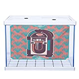 SUZM Underwater World Backdrop Fish Aquarium Jukebox Floral Paisley Inspired Backdrop with Music Box Retro Party Print Turquoise Coral Dried Rose 30' W x 18' H PVC Adhesive Decals Sticker