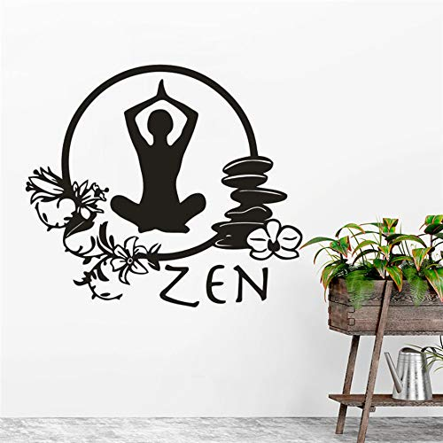 LSMYE Zen YogaVinyl Wandaufkleber MeditationStyle HomeDecor WallYoga Studio Fitness Vinyl Wandtattoo gelb 57X50cm