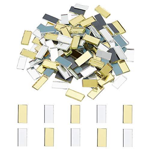 PandaHall Azulejos de mosaico de espejo, 100 piezas rectangulares mini azulejos de mosaico decorativos para decoración del hogar