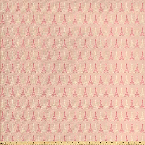 Ambesonne Paris Fabric by The Yard, Soft Colors Eiffel Tower Pattern France Landmark Repetitive Design, Decorative Fabric for Upholstery and Home Accents, 3 Yards, Yellow Coral
