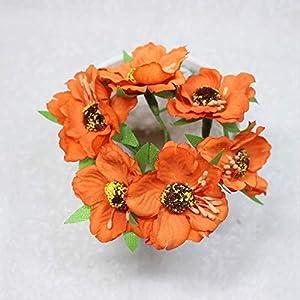 DSWJH Artificial Flower Flower, Heads Mini Silk Artificial Poppy Bouquet Wreath Scrapbook Wedding Decoration