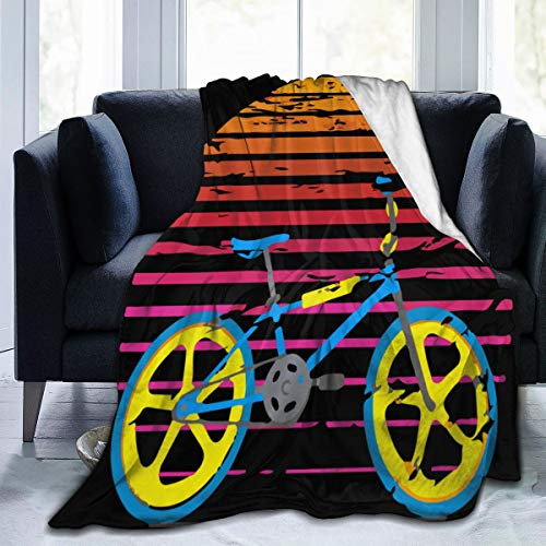 diy-nncase Throw Retro BMX Blanket Fit Sofa Bed Chair- Fluffy Fleece Blanket Cozy for Camping