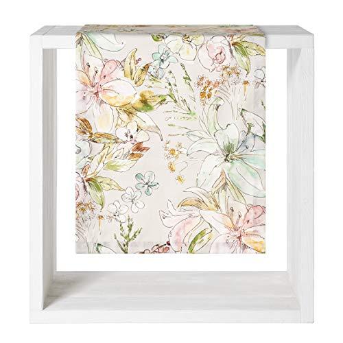 Proflax Tischwäsche Angelina, pastelliger aquarelliger Blumendruck, 100% BW, Verschiedene Größen Größe Tischdecke 130 x 170 cm