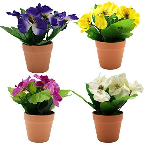 lqgpsx 4 Piezas pequeñas Flores Artificiales en macetas para Dormitorio 15 cm de Alto Pensamiento...