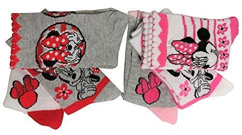 Disney Minnie Mouse set de 6 calcetines en blanco, rosa, gris con flores y lazos para niños, niñas y niños (31/34) (27/30)