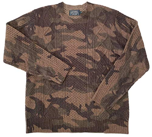 Ralph Lauren Men's ADIRONDAK Printed CAMO L/S Cable Knit Wool Crewneck Pullover Sweater (Large)