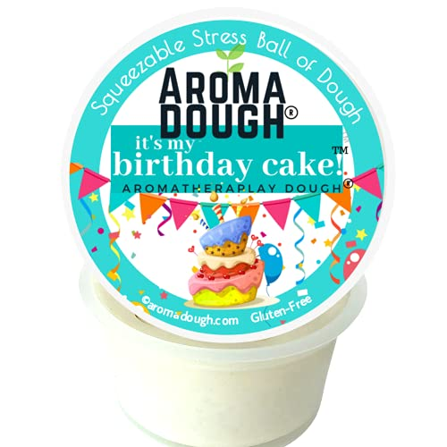 Aroma Dough Gluten Free Playdough for Kids – Aromatherapy Birthday Cake Scented Playdough Putty – Non-Toxic Soy-Free Squeezable Soft Modeling Dough Set with Colored Sparkle Glitter – 6 Ounce