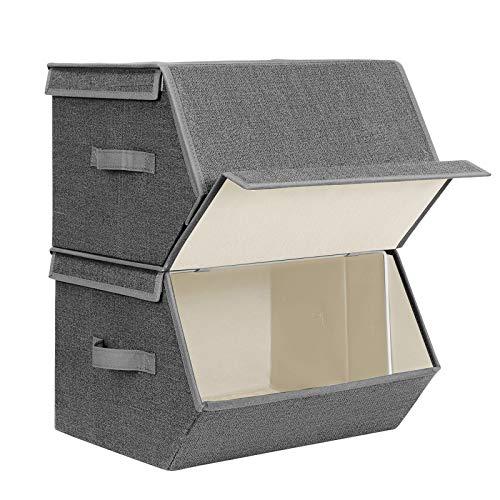 SONGMICS Set de 2 Cajas de Almacenaje con Aros Metálicos y Imánes Cubos de Tela Organizador Plegable con Tapa 38 x 35 x 25 cm Gris y Beige RYLB02G
