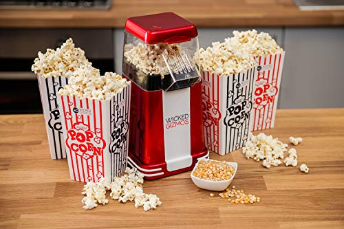 WICKED GIZMOS  New Retro Electric Healthy Fat Free Popcorn Maker 1200w Power – Easy to Make Healthier Snack Popcorn Within 3 Mins - Comes with 6 Serving Boxes (Energy Class A)