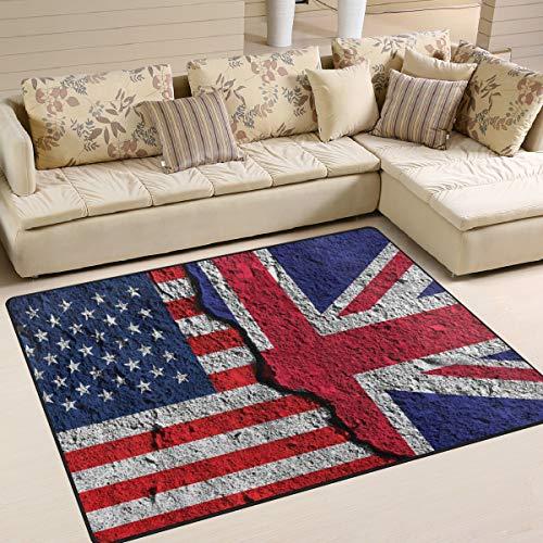 Use7 Tapis rétro pour Salon, Chambre à Coucher Motif Drapeau Anglais Anglais, Tissu, Multicolore, 203cm x 147.3cm(7 x 5 Feet)