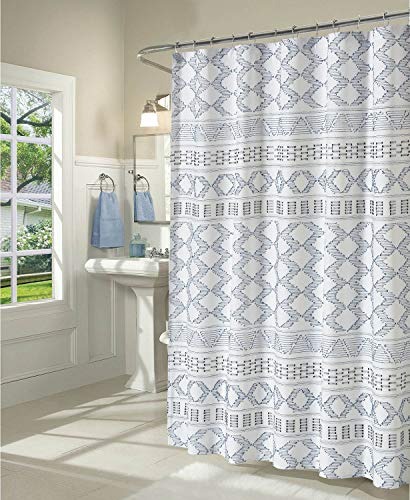 DOSLY IDÉES Boho Fabric Shower Curtain Set with Hooks for Bathroom, Blue and Gray, Decorative Woven Texture Waterproof Clipped Jacquard,Farmhouse,Shabby Chic and Modern Style Cloth Panel, 72 x 96 in