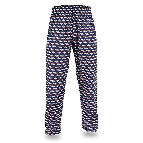Zubaz NFL Denver Broncos Men's Team Logo Print Comfy Jersey Pants, Medium, Navy