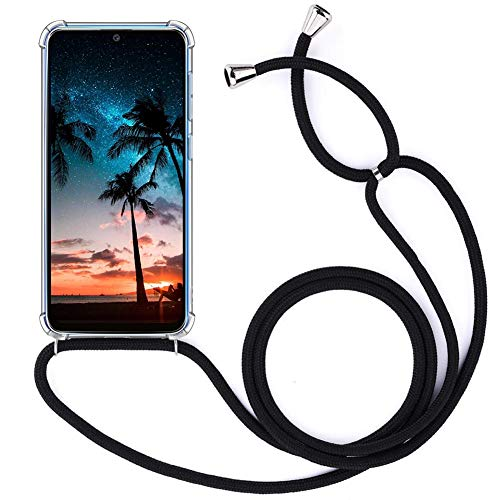 YuhooTech Cadena de teléfono móvil compatible con Samsung Galaxy S21 FE, funda para teléfono móvil con cordón – Funda con cordón – Cordón con funda para colgar