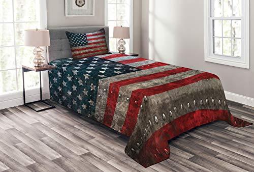 ABAKUHAUS Amerikanische Flagge Tagesdecke Set, US-Flaggen-Platte, Set mit Kissenbezug Klare Farben, für Einselbetten 170 x 220 cm, Rot Grauen