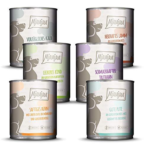 MjAMjAM - Premium Nassfutter für Hunde - Mixpaket II - mit Huhn & Ente, Rind, Pute, Kalb, Truthahn, Lamm, 6er Pack (6 x 800 g), getreidefrei mit extra viel Fleisch
