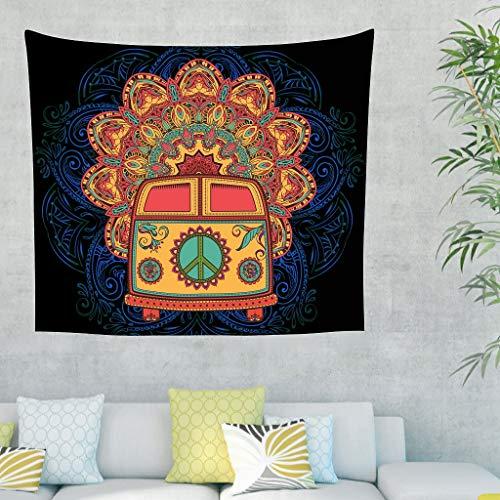 Yrgdskuvle Tapiz para colgar en el dormitorio o en el coche de la India, para el dormitorio o el salón, color blanco, 150 x 130 cm