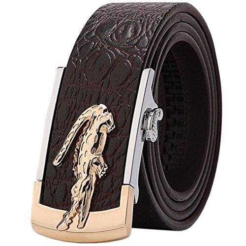 Gürtel Herren Echt leder Krokodil Muster Metallschnalle Ledergürtel Ratsche Automatik Freizeit Belt für Männer Kleidung Business Retro Jeans Bund