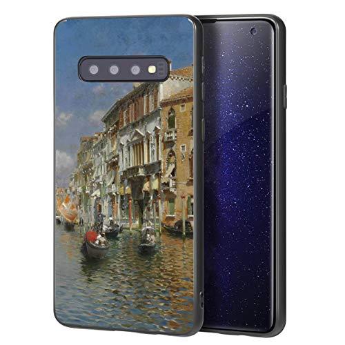 Berkin Arts Rubens Santoro für Samsung Galaxy S10 Plus Hülle/Kunst Handyhülle/Giclée UV Druck auf der Handyabdeckung(Gondolas On Das Grand Kanal Venedig)
