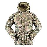 AKARMY Men's Outdoor Warm Winter Snow Coat Waterproof Soft Shell Windbreaker Hooded Military Tactical Fleece Ski Jacket CP Camo