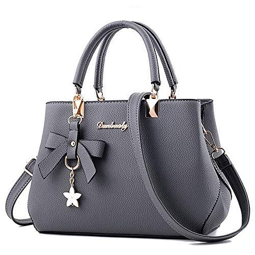 BestoU Damen Handtasche Leder Tasche Shopper Damen Handtaschen Schule Schultertaschen Geldbörsen (Grau)