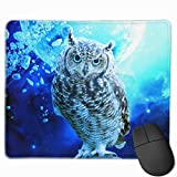 Underwater Owl Mouse Pad with Non-Slip Rubber Base and Waterproof Mousepad with Stitched Edges Mouse Pads for Computers Laptop Gaming Office & Home 11.8 X 9.8 in,3mm