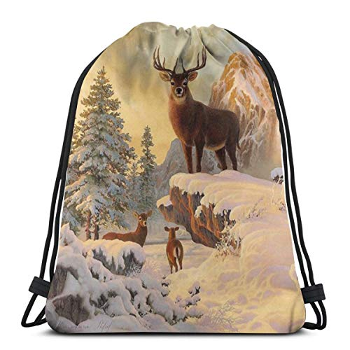 Elsaone Three White Tailed Deer in Winter Fores Drawstring Backpack Sport Bags String Bag Sack Cinch Tote Gym Backpack Bulk for School Gym 36 x 43 cm/14.2 x 16.9 Inch